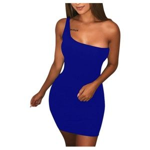 Women Casual Basic One Shoulder Bodycon Mini Dress